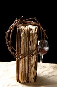 image of thorns  - Crown of thorns and bible on black background - JPG