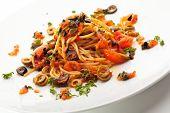 stock photo of spaghetti  - Vegetarian Spaghetti with Vegetables - JPG