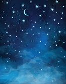 picture of moon stars  - Night  sparkling sky background with stars and moon - JPG