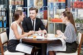 image of buffet lunch  - Nice and easy conversation with the coworkers by lunch - JPG