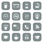 stock photo of gasoline station  - Set of gas station icons - JPG