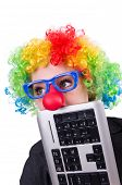 picture of wig  - Businessman with clown wig isolated on white - JPG