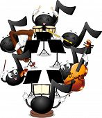 pic of orchestra  - Mascot Illustration of Musical Notes Playing in an Orchestra - JPG