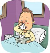 stock photo of snot  - Illustration of a Man Stuck in Bed Due to a Severe Case of Colds - JPG