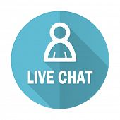 stock photo of chat  - live chat blue flat icon 