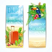 stock photo of toucan  - Travel vertical banners set with vacation suitcase exotic leaves and toucan bird isolated vector illustration - JPG