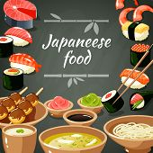 image of noodles  - Japanese food poster with sushi rolls sashimi noodle and rice vector illustration - JPG