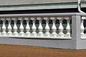image of balustrade  - Beautiful white balustrade on the lakeside promenade - JPG