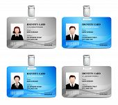 picture of  realistic  - User id card realistic set with male and female photo templates isolated vector illustration - JPG