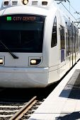 pic of passenger train  - Electric passenger train at a city mass transit station in Oregon - JPG