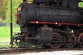image of locomotive  - Old black steam locomotive - JPG