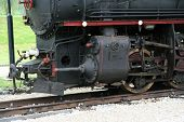 picture of train-wheel  - Old steam train locomotive. Black steam train.