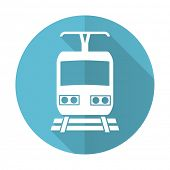 picture of railroad-sign  - train blue flat icon public transport sign  - JPG