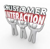stock photo of lifted  - Customer Involvement words in 3d letters lifted by clients to illustrate engagement - JPG