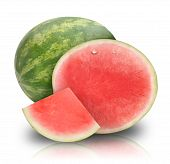 Pink Watermelon Fruit on White