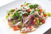 pic of scallion  - Sardine spicy salad or yum sardine mixture of red chili garlic scallion cilantro red onion lime juice over sardine - JPG