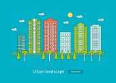 Постер, плакат: Flat design modern vector illustration icons set of urban landscape and city life