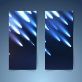 stock photo of meteors  - Shooting meteors banner collection layout showing glowing meteorites falling from the dark sky - JPG