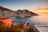stock photo of hydra  - View of the port of Hydra at the sunset  - JPG