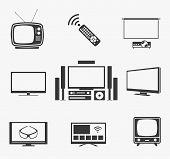 foto of tv sets  - Retro TV and flat screen TV - JPG