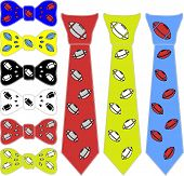 image of tied  - collage ties and the bow tie for rugby in different colors on a white background - JPG