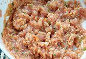 pic of scallion  - Vietnamese food bun rieu a famous dish of Vietnam raw material as tomato crab pork meat shrimp salad scallion egg vegetable shrimp paste bunrieu is Viet Nam special eating - JPG