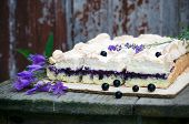 image of sponge-cake  - Sponge cake with blueberries on an old wooden table - JPG