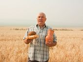 stock photo of loamy  - Happy senior farmer with bread and earthen jug - JPG