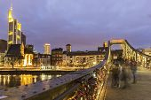 stock photo of frankfurt am main  - Frankfurt am Main in Germany in the evening - JPG
