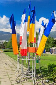 stock photo of crimea  - Flag of Ukraine and Crimea to the Soviet area in Yalta - JPG