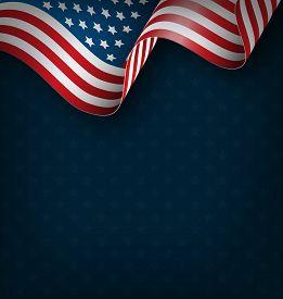 foto of nationalism  - Wavy USA national flag on blue background - JPG