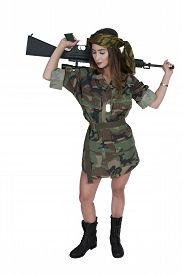 picture of m16  - Beautiful young woman soldier with a M16 rifle - JPG