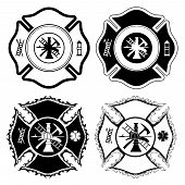 stock photo of maltese-cross  - Illustration of four version of the Firefighter Cross symbol in one color.