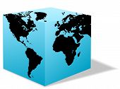 Square Earth Globe, Box Map Of America, Europe, Africa poster