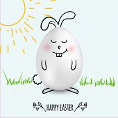 Happy Easter Egg In A Shape Of Cute Happy Smiling Bunny On White  Background With Hand Drawn Sun And poster
