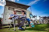Couple on holiday at a campsite. Caravan car Vacation. Family vacation travel, holiday trip in motor poster