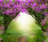 Fantasy  background . Magic forest with road.Beautiful spring  landscape.Lilac trees in blossom  poster