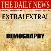 demography, newspaper article text poster