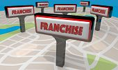 Franchise Sign Map New Business Opportunity 3d Illustration poster