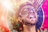 Brazilian guy wearing carnival costume. poster