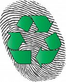 fingerprint with recycle logo over suggesting individual attempt to greener lifestyle