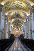 foto of church interior  - The interior of a magnificent cathedral in the heart of Lima Peru - JPG