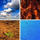 Постер, плакат: Четыре элемента воздух огонь вода земля