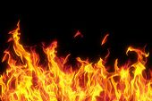stock photo of flames  - flame isolated over black background - JPG
