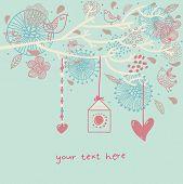 Постер, плакат: Романтический цветочный фон с мультфильм птицы