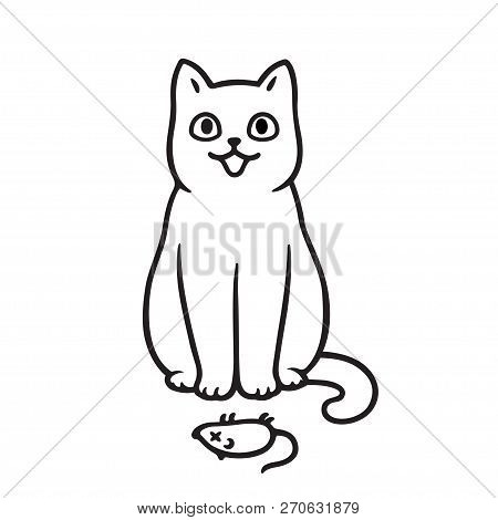 Cute Cartoon Cat With Dead