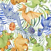 Hand Drawn Watercolor Seamless Pattern With Cute Dinosaurs And Tropical Leaves. Historical Reptiles. poster