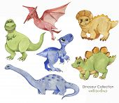 Hand Drawn Watercolor Illustration Of Cute Dinosaurs. Historical Reptiles. Collection Dinosaurs - Ca poster