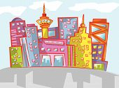 Cityscape Cartoon divertido (Vector)