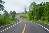 Curve Road Driving / Asphalt Of Road For Car Travel Transportation On Mountain - Countryside Road Cu poster